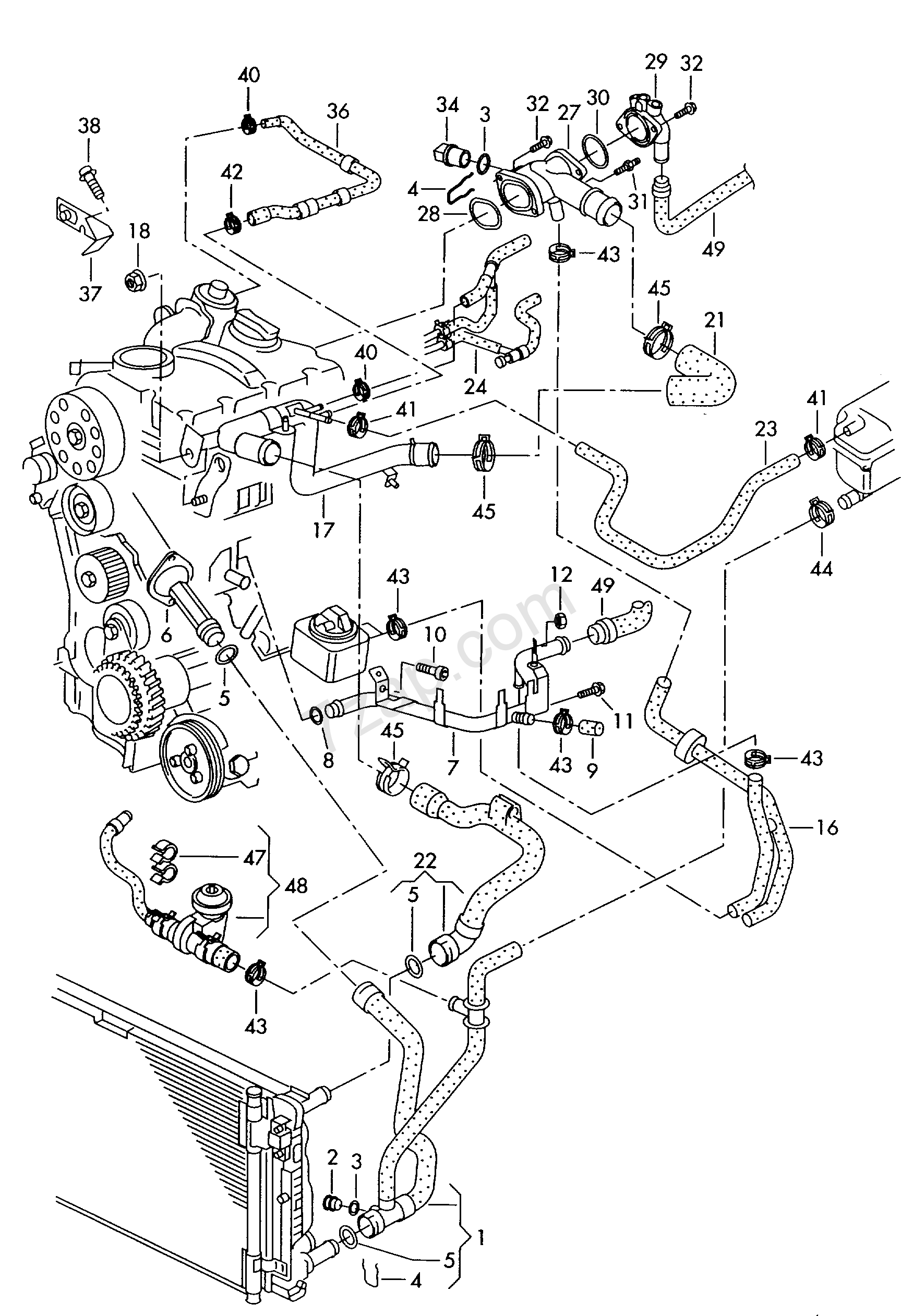 coolant cooling system - audi a4/s4/avant/quattro(a4q) [europa 2001 year]