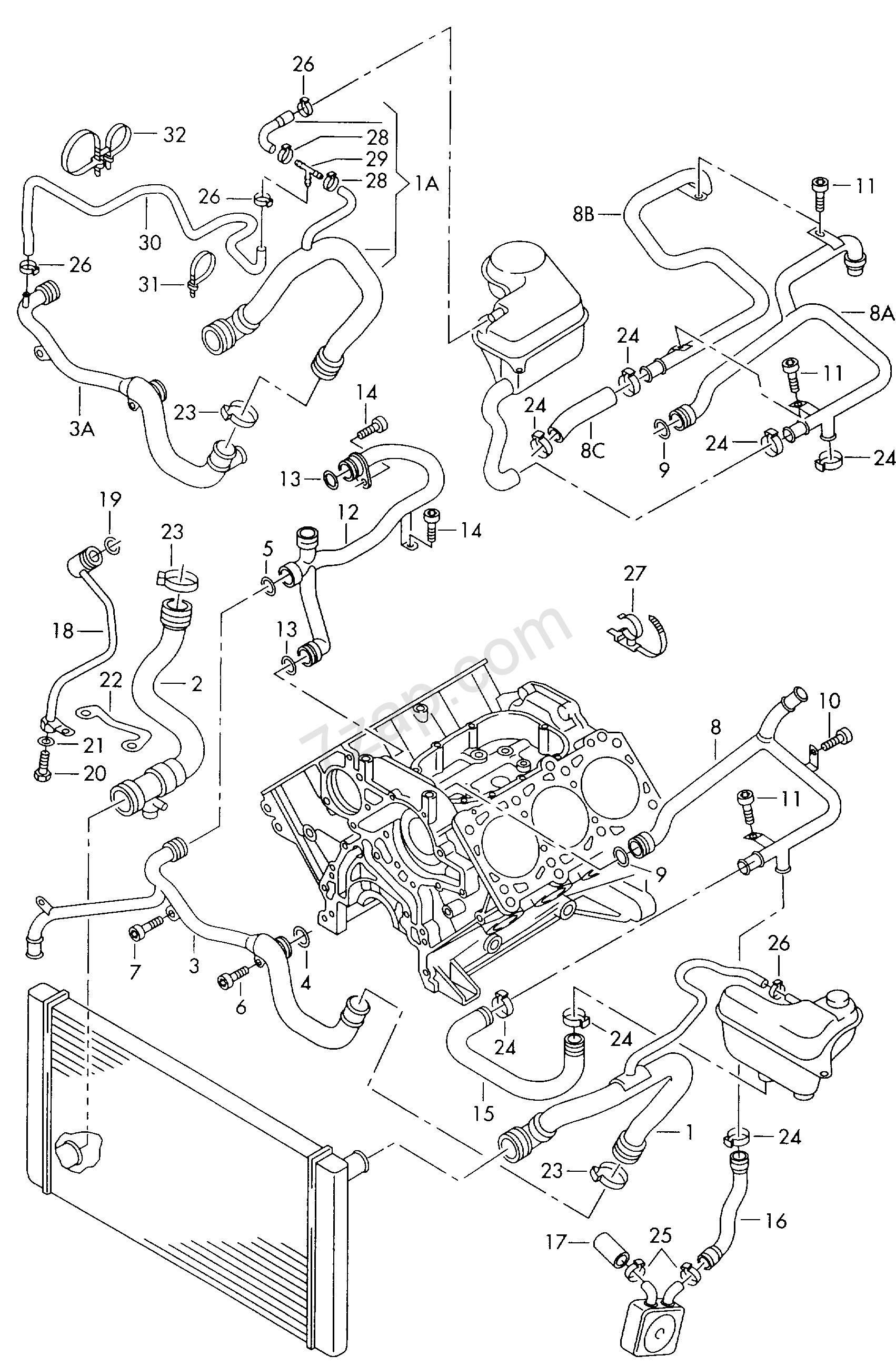coolant cooling system - Audi A6/S6/Avant quattro(A6Q) [EUROPA 2000 year]