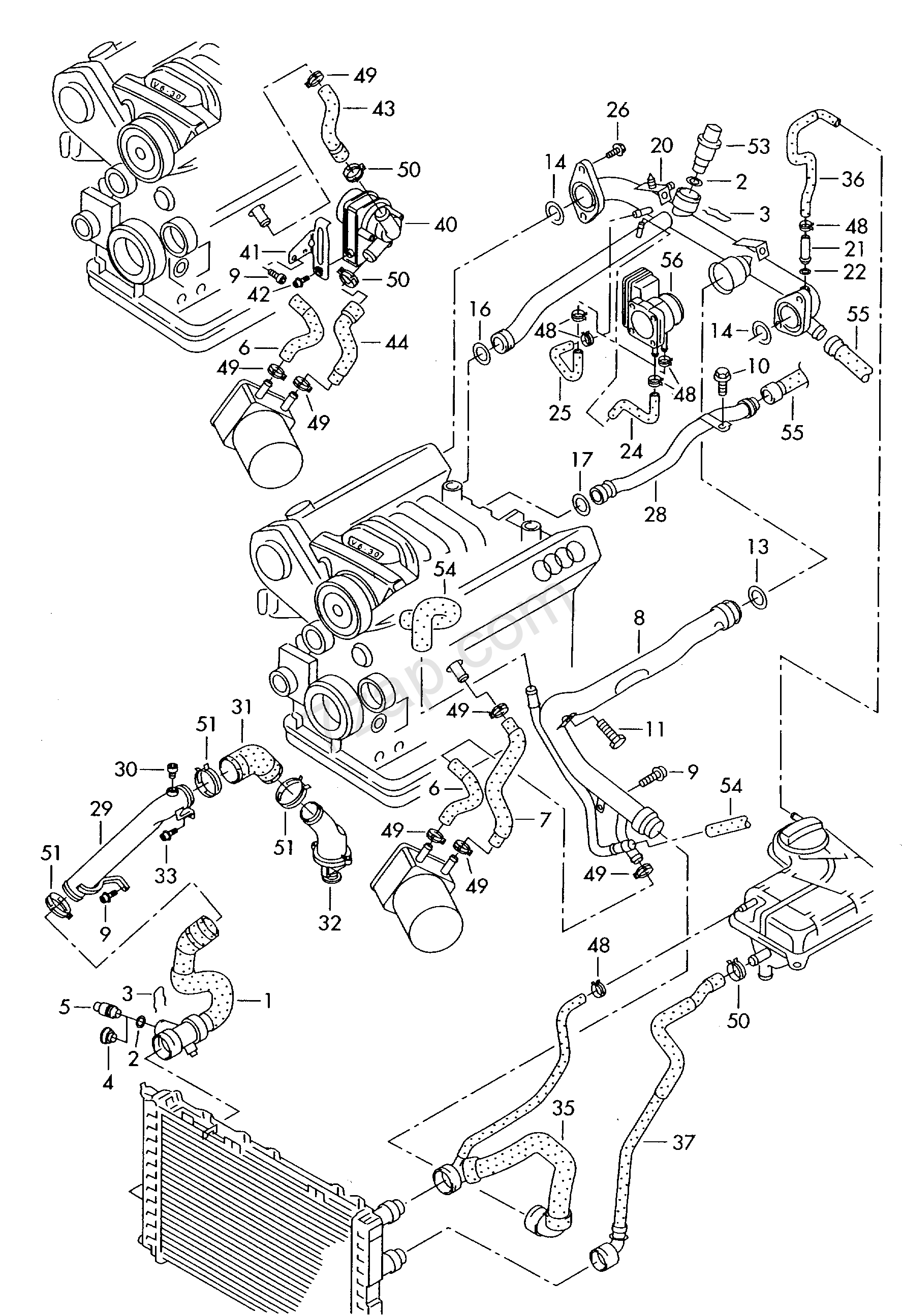 coolant cooling system audi a4  s4 cabrio   qu   aa4c  2003