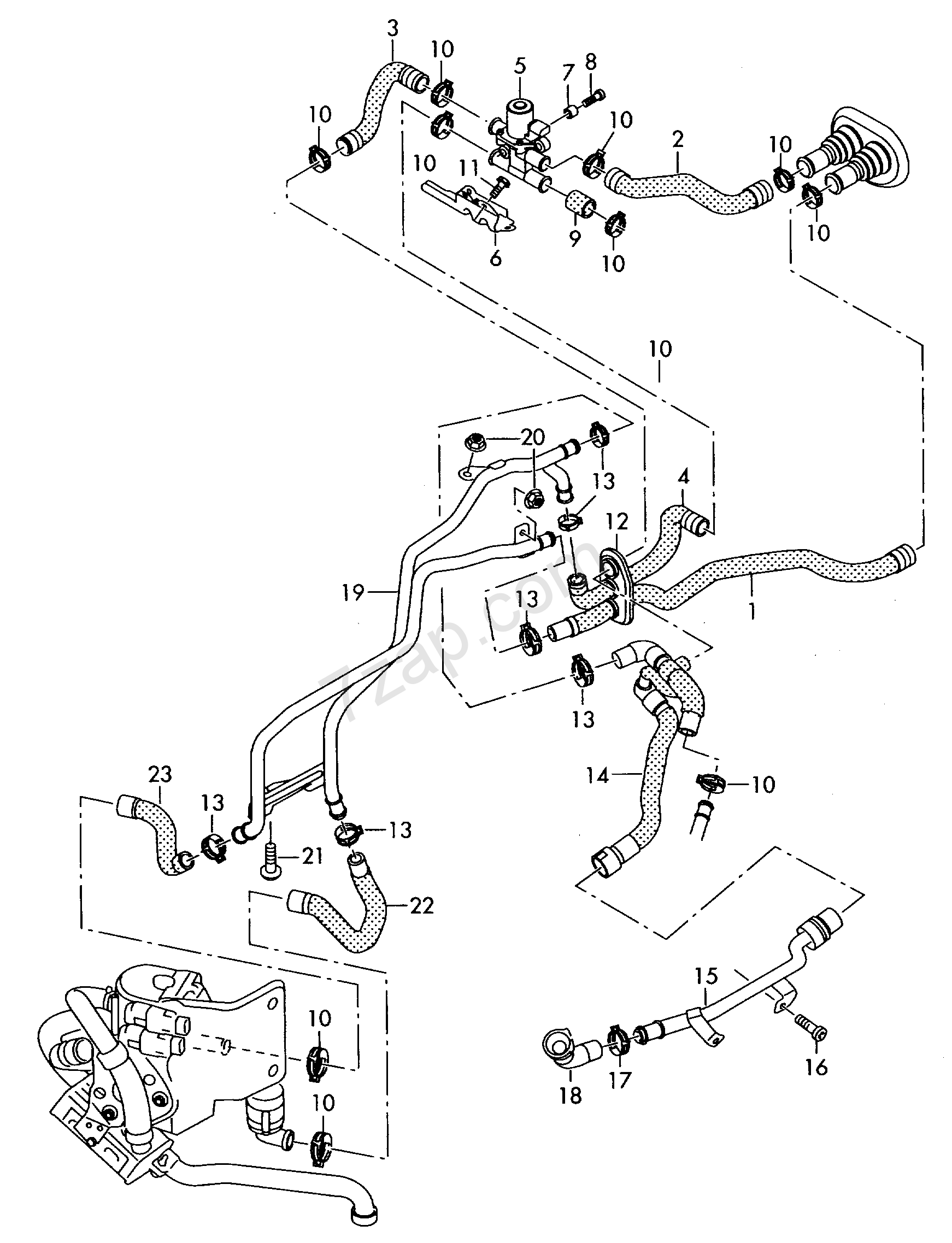 Coolant Hoses  For Vehicles With Auxiliary Heater Audi A4