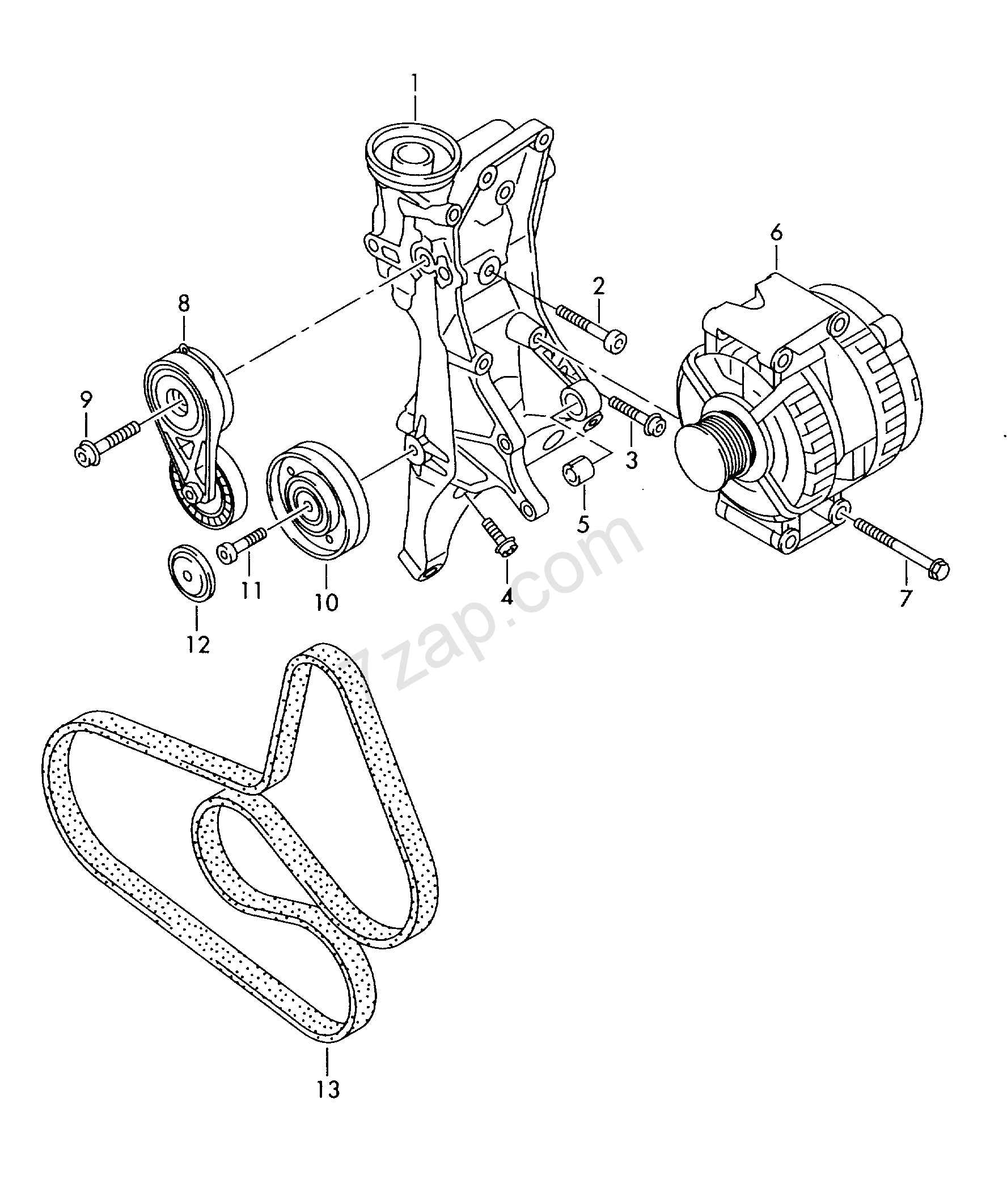 connecting and mounting parts for alternator  pol    audi a4  avant  a4  2009 year audi europa 903020