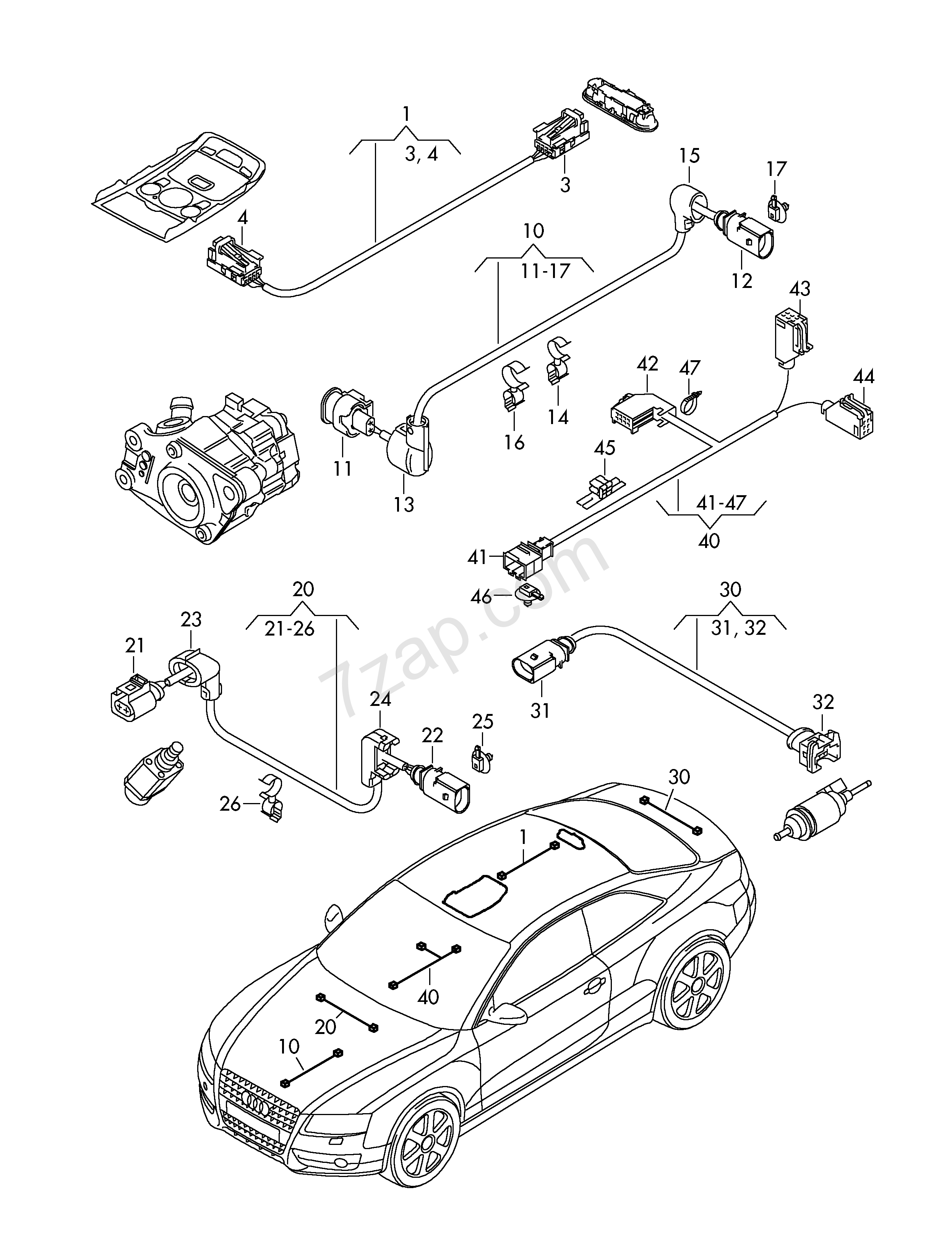 Wiring Harness For Auxiliary Heater  Heater Unit Audi A5