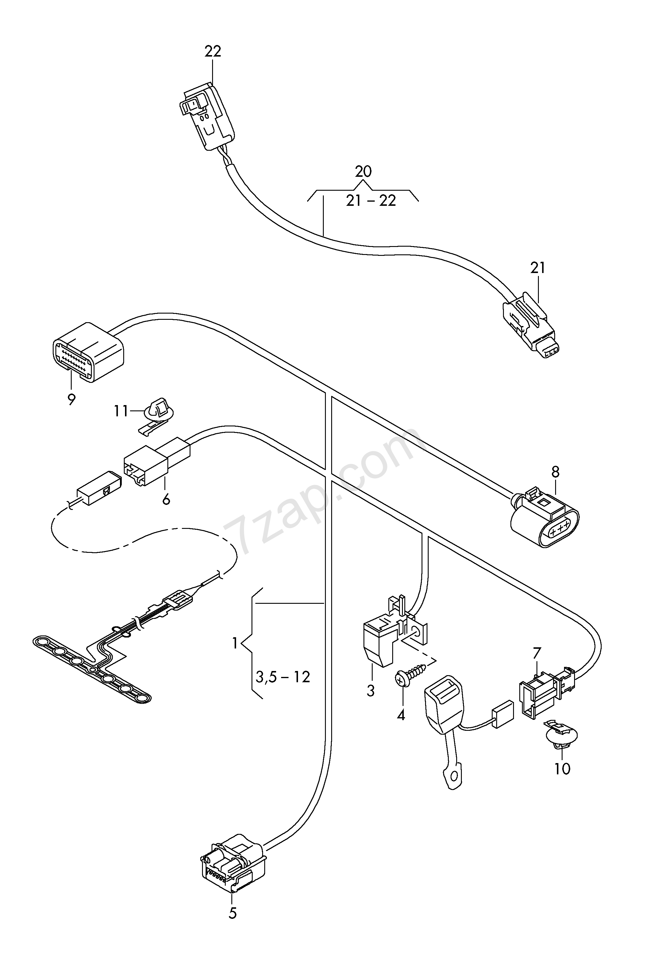 Wiring Harness Adapter For Belt Tensioner Audi A6  S6  Avant