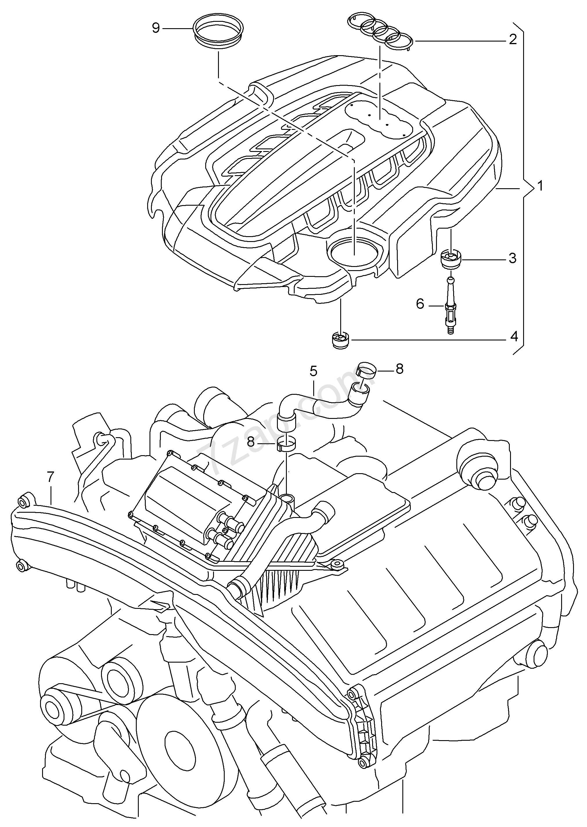 breather line  cover for engine compartment audi rs7
