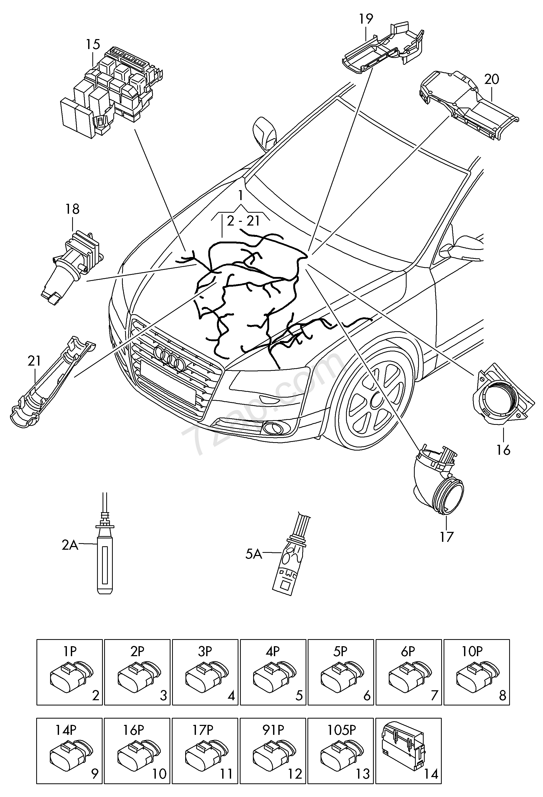 individual parts  harness for engine compartment      audi